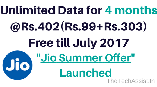 Jio summer offer unlimited for 4 months